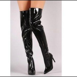 NWOB Black Thigh High Paten Leather Boots High 8